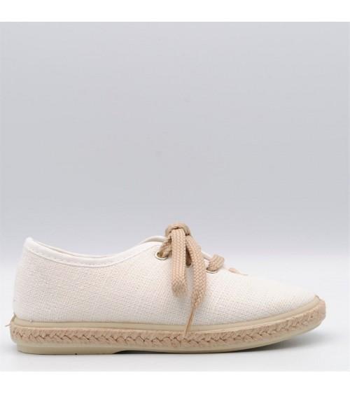 alpargata niño blanco lino cordón vulpeques