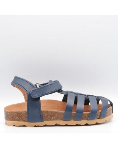 sandalia niño bio piel azul marino